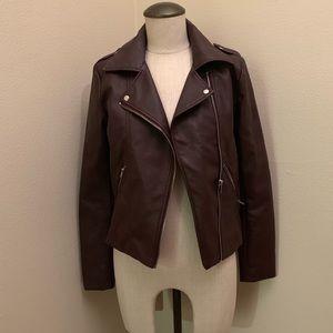 Love Tree Maroon Leather Jacket